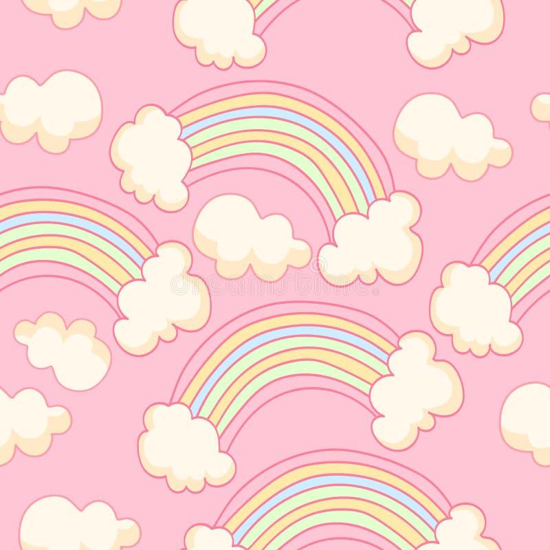 Teste padrão sem emenda bonito com arco-íris e céu ilustração do vetor