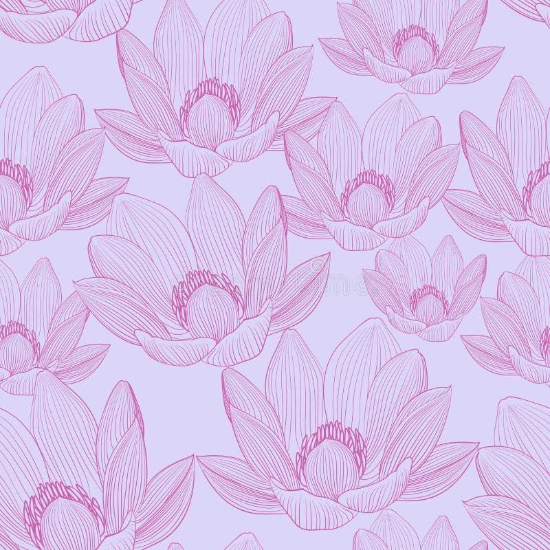 Teste padrão sem emenda bonito com as flores de lótus cor-de-rosa Papéis de parede dos lírios de água ilustração do vetor