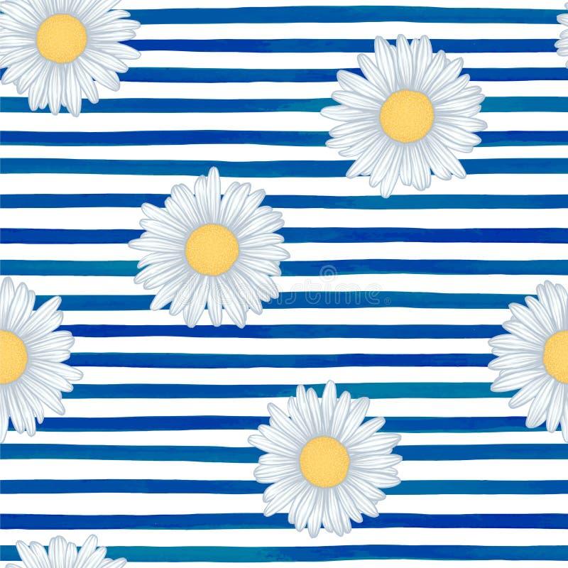 Teste padrão sem emenda bonito com as listras azuis da aquarela cursos pintados à mão da escova, fundo listrado Ilustração do vet ilustração stock