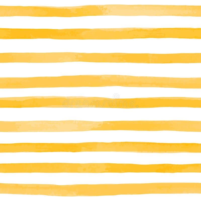 Teste padrão sem emenda bonito com as listras da aquarela do amarelo alaranjado cursos pintados à mão da escova, fundo listrado I ilustração do vetor