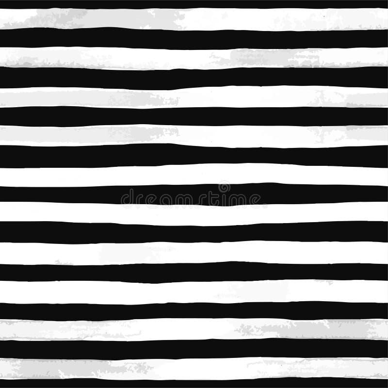 Teste padrão sem emenda bonito com as listras preto e branco da aquarela cursos pintados à mão da escova, fundo listrado Illustr  ilustração stock