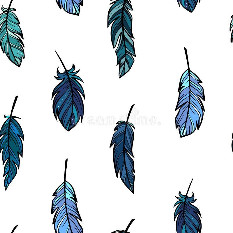 Teste padrão sem emenda bonito com as penas azuis tiradas mão no estilo do boho ilustração do vetor