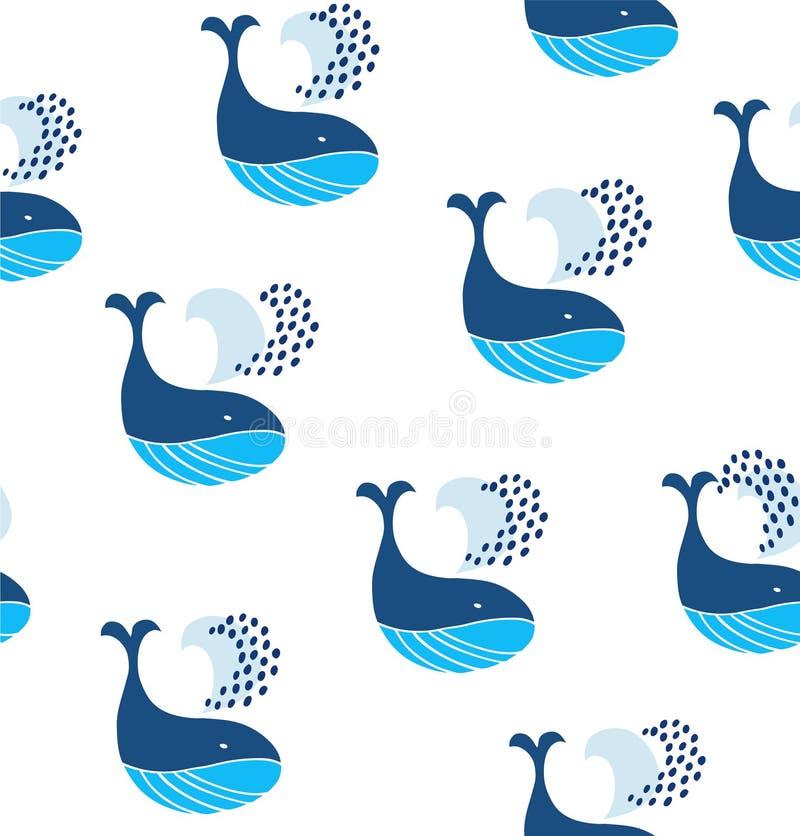 Teste padrão sem emenda bonito com baleias decorativas Fundo marinho decorativo do vetor ilustração royalty free