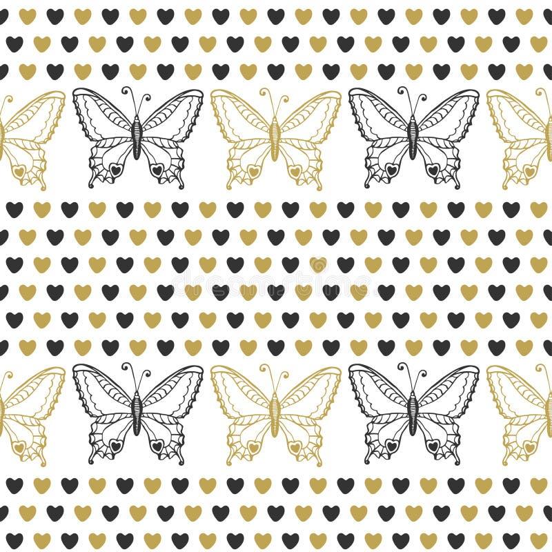 Teste padrão sem emenda bonito com borboletas e preto dos corações e cores do ouro Fundo desenhado mão do vetor Pode ser usado en ilustração stock