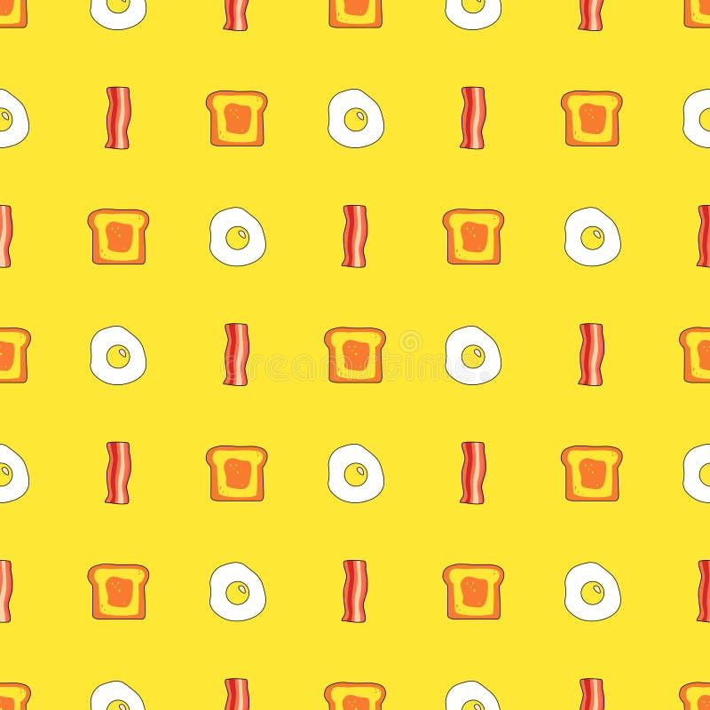 Teste padrão sem emenda bonito com brinde, bacon e ovos Alimento dos desenhos animados e fundo da bebida no vetor ilustração royalty free