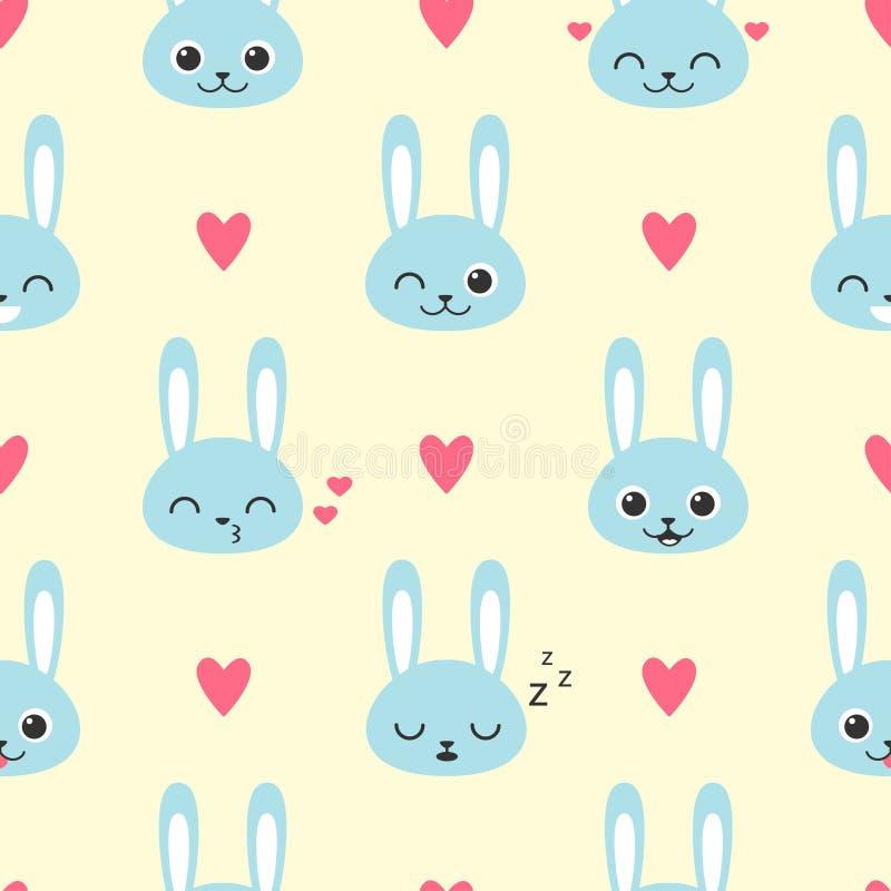 Teste padrão sem emenda bonito com coelhos ilustração royalty free