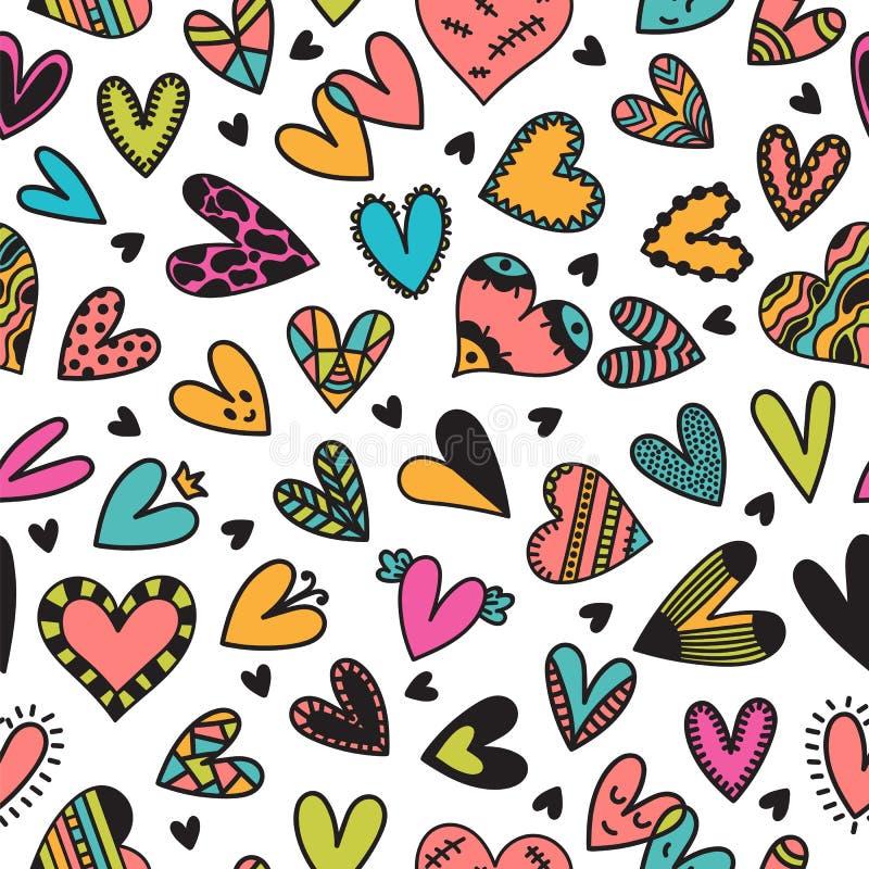 Teste padrão sem emenda bonito com corações tirados mão Elementos bonitos da garatuja Fundo para o projeto do dia do casamento ou ilustração royalty free