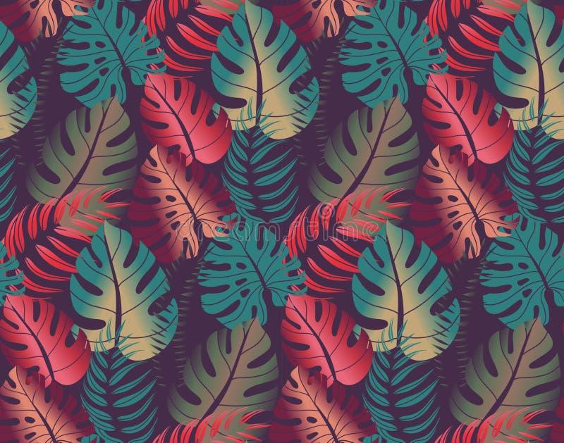 Teste padrão sem emenda bonito com folhas de palmeira ropical da selva ilustração do vetor