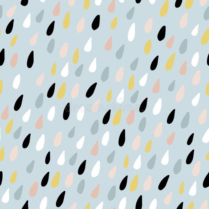 Teste padrão sem emenda bonito com gotas coloridas da água Textura criançola para a tela, matéria têxtil Ilustração do vetor ilustração do vetor