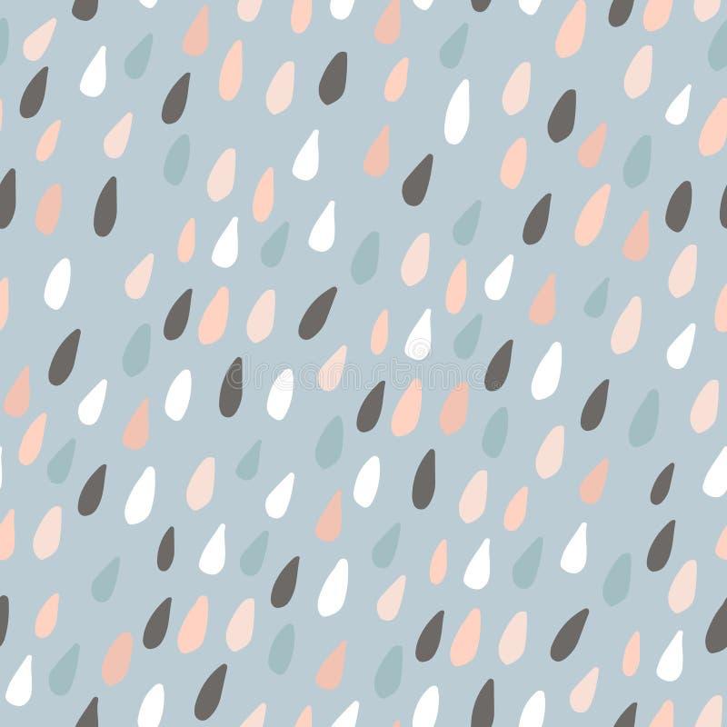 Teste padrão sem emenda bonito com gotas coloridas da água Textura criançola para a tela, matéria têxtil Ilustração do vetor ilustração royalty free