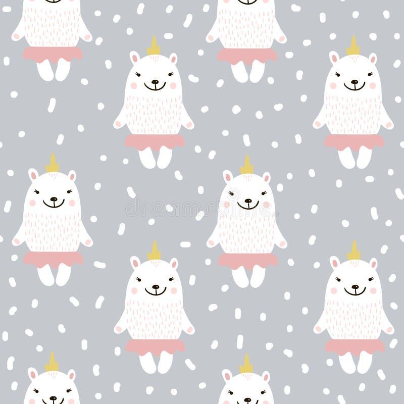 Teste padrão sem emenda bonito com o urso branco do bebê Textura criançola para a tela, matéria têxtil Ilustração do vetor ilustração do vetor