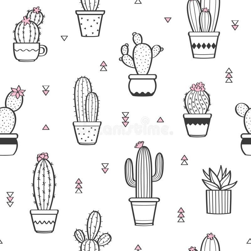 Teste padrão sem emenda bonito com os vários cactos desenhados à mão do esboço em uns vasos de flores ilustração royalty free