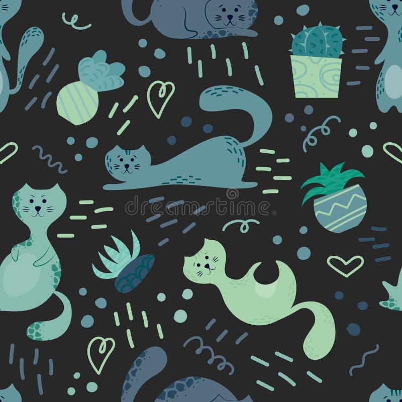 Teste padrão sem emenda bonito com plantas, gatos e garatujas da casa Flores no potenciômetros Casa de Hygge projeto do fundo do  ilustração royalty free