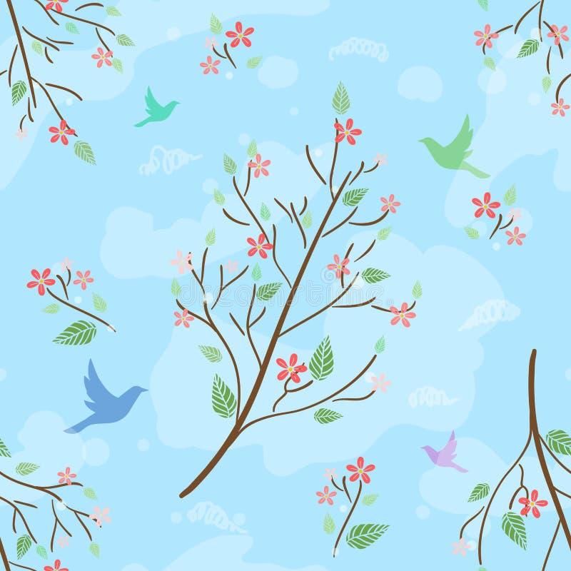 Teste padrão sem emenda bonito com ramo de florescência, silhuetas dos pássaros e nuvens ilustração stock