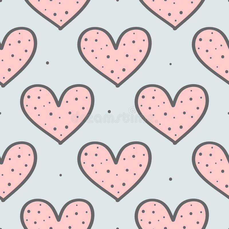 Teste padrão sem emenda bonito com repetição de corações e de pontos redondos Tirado à mão, esboço, garatuja ilustração stock