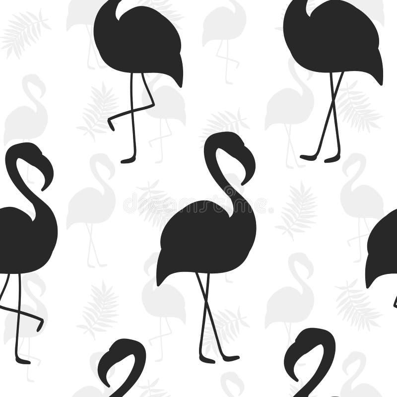 Teste padrão sem emenda bonito com a silhueta preta do flamingo ilustração stock