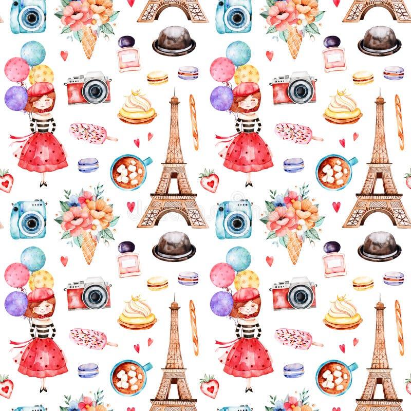 Teste padrão sem emenda bonito com torre Eiffel ilustração do vetor
