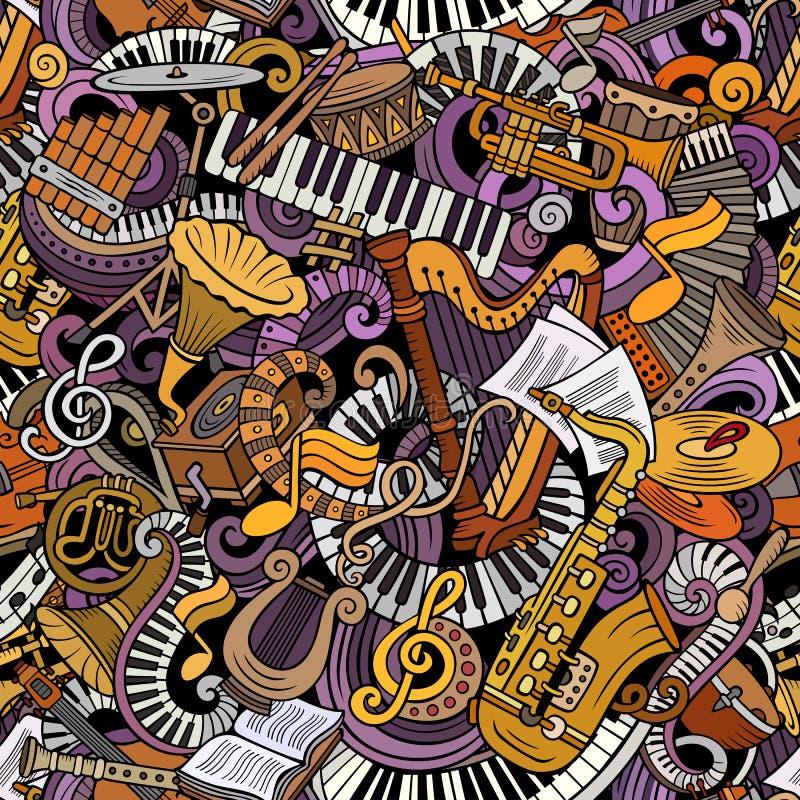 Teste padrão sem emenda bonito da música clássica das garatujas dos desenhos animados ilustração stock