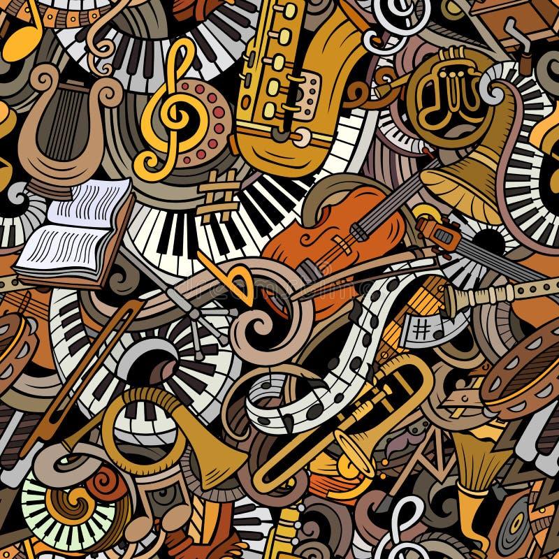 Teste padrão sem emenda bonito da música clássica das garatujas dos desenhos animados ilustração do vetor