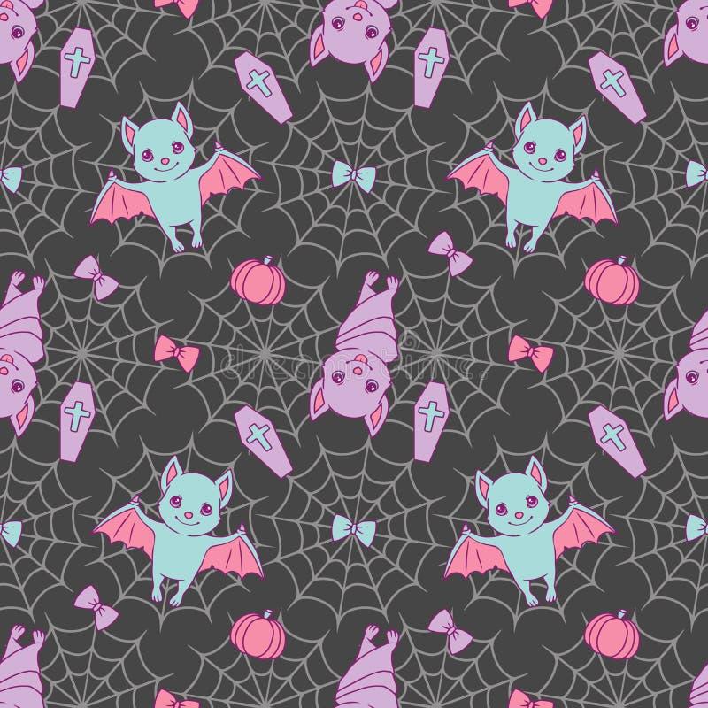 Teste padrão sem emenda bonito de Dia das Bruxas com os bastões dos desenhos animados, spiderwebs, as fitas, as abóboras e os glo ilustração do vetor