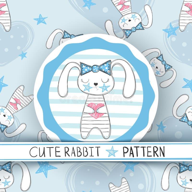 Teste padrão sem emenda bonito - desenhos animados do coelho ilustração stock