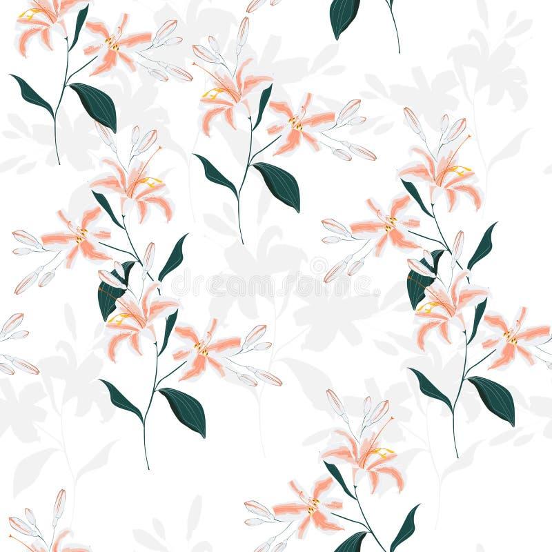 Teste padrão sem emenda bonito do cor e o branco com lírios Linhas de contorno desenhados à mão Cartão e convite do projeto ilustração royalty free