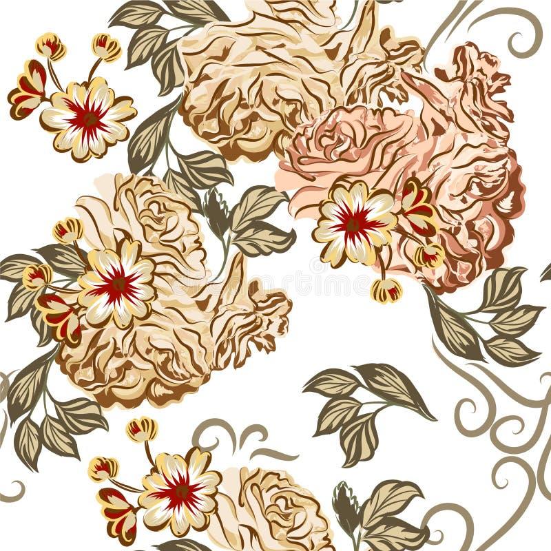 Teste padrão sem emenda bonito do papel de parede do vetor com as rosas no waterc ilustração stock