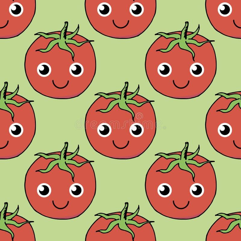 Teste padrão sem emenda bonito do tomate positivo ilustração do vetor