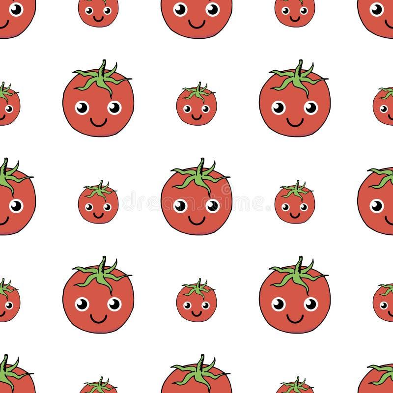 Teste padrão sem emenda bonito do tomate positivo no fundo branco ilustração royalty free