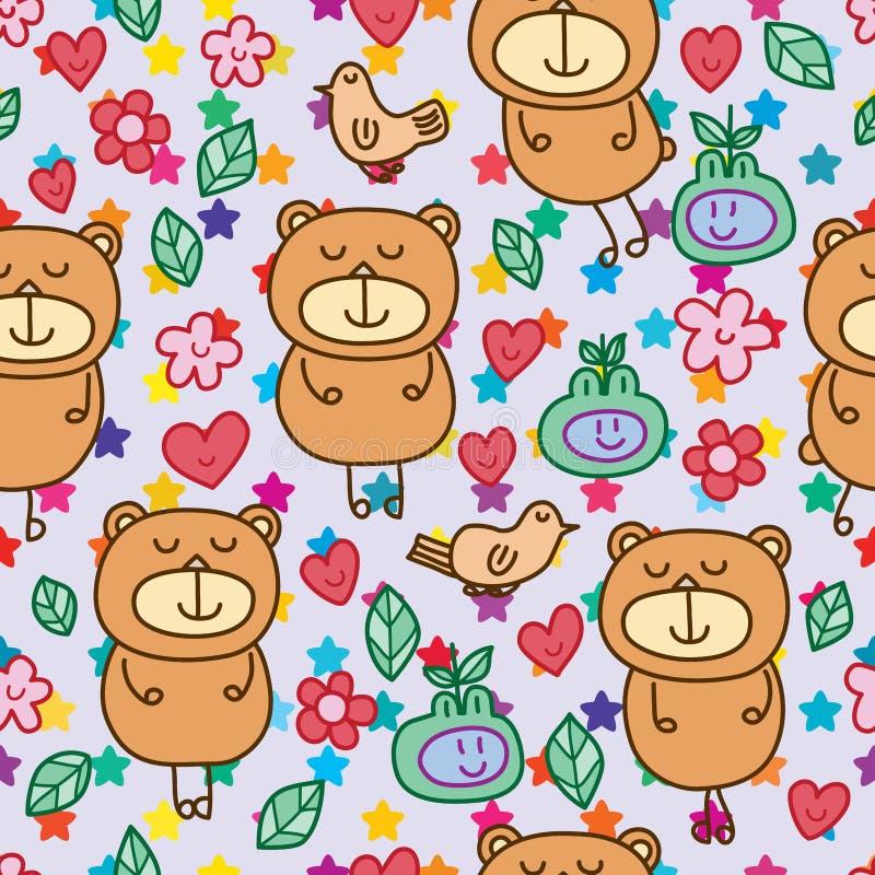 Teste padrão sem emenda bonito do urso ilustração do vetor