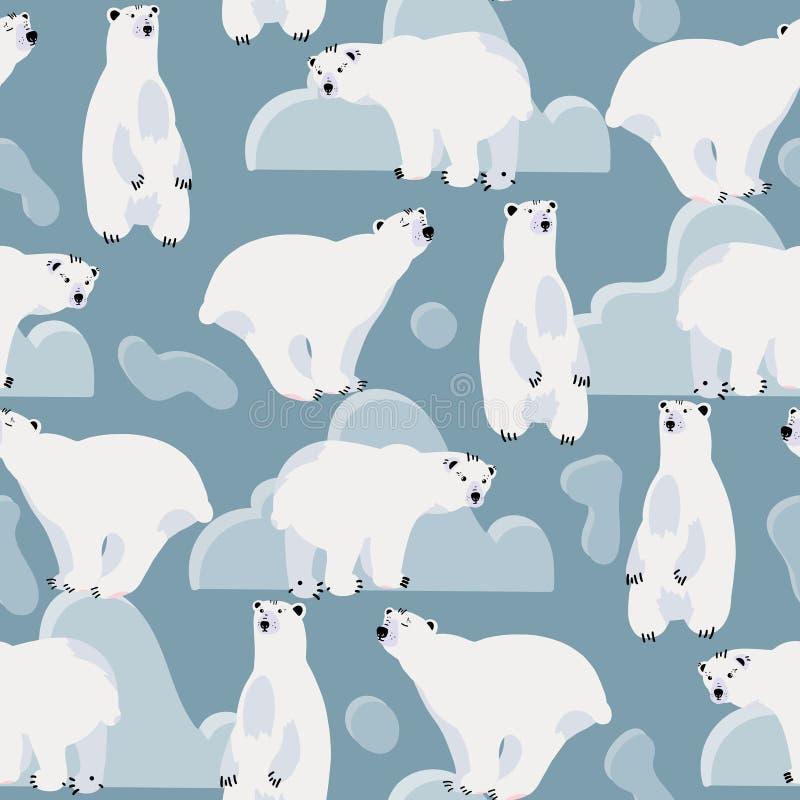 Teste padrão sem emenda bonito do urso polar ilustração do vetor