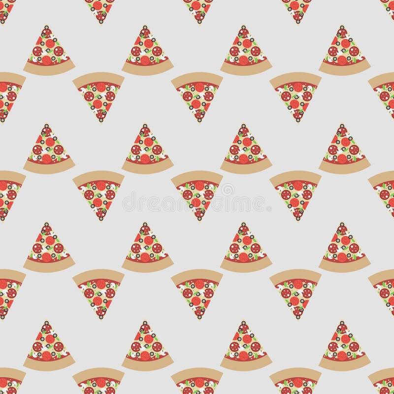 Teste padrão sem emenda bonito do vetor com fatias da pizza foto de stock royalty free