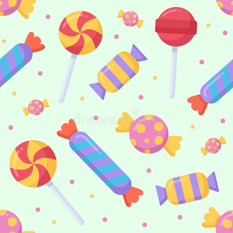 Teste padrão sem emenda bonito dos doces e do lolipop em um fundo claro ilustração royalty free
