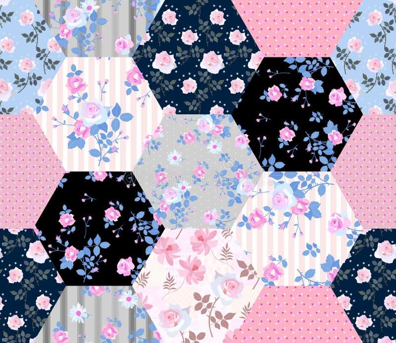 Teste padrão sem emenda bonito dos retalhos com flores e o às bolinhas cor-de-rosa Projeto floral da edred?o ilustração stock
