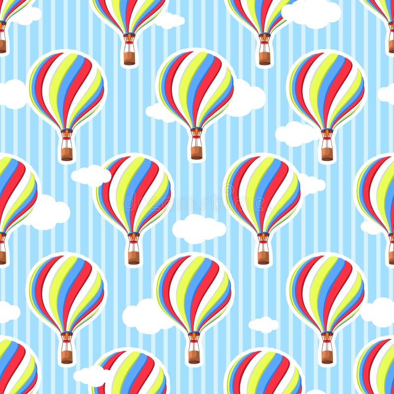 Teste padrão sem emenda bonito no berçário Balão de ar quente, nuvens Fundo sem emenda O teste padrão nas cores pastel fotos de stock royalty free