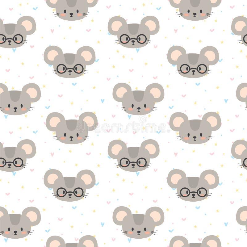 Teste padrão sem emenda bonito para crianças com mouses engraçados Caráteres do sorriso ilustração royalty free