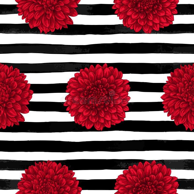 Teste padrão sem emenda bonito que dahliadrawing em listras preto e branco da tinta horizontal cartão do projeto e convite do wed ilustração stock