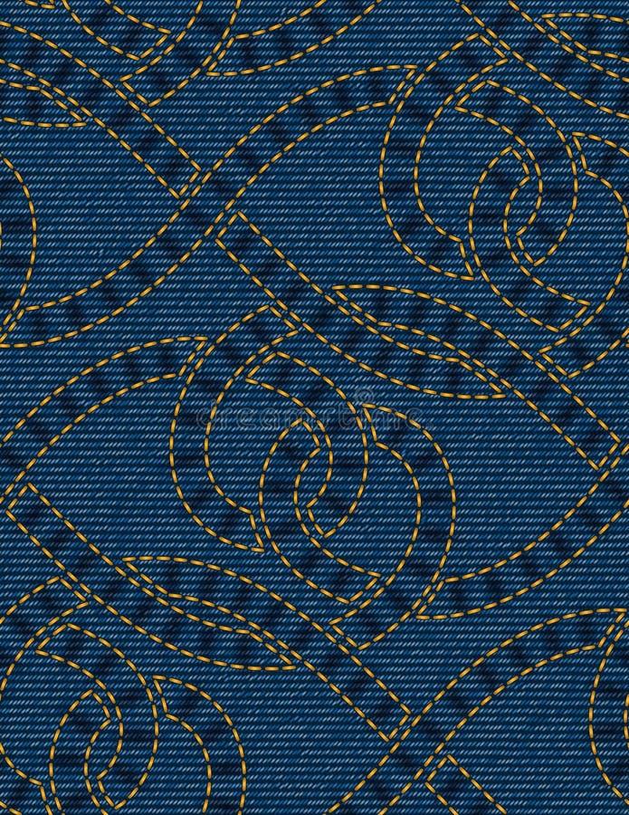 Teste padrão sem emenda bordado no fundo azul da textura da sarja de Nimes ilustração royalty free
