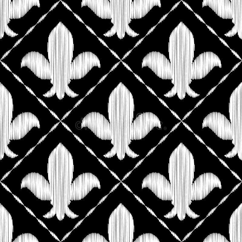 Teste padrão sem emenda bordado preto e branco do ornamento real do lírio, vetor ilustração stock
