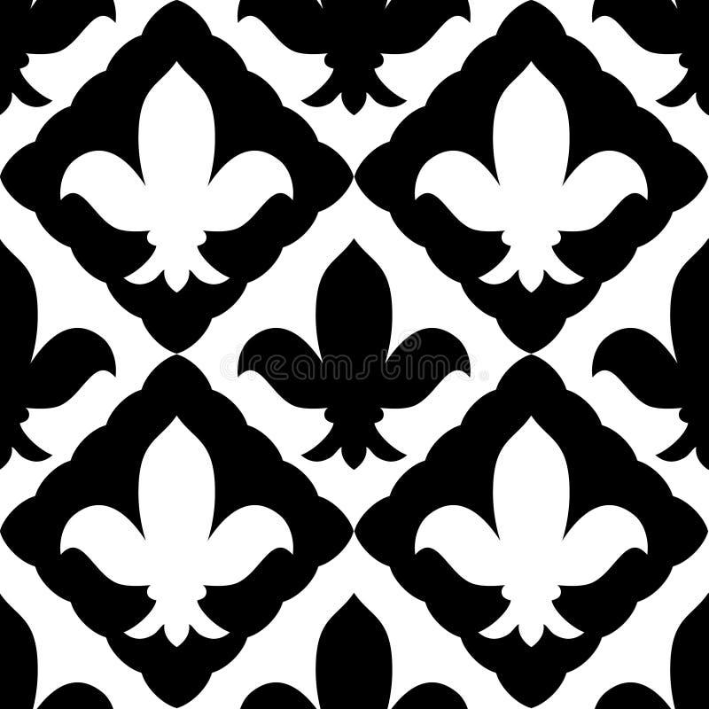 Teste padrão sem emenda bordado preto e branco do ornamento real do lírio, vetor ilustração royalty free