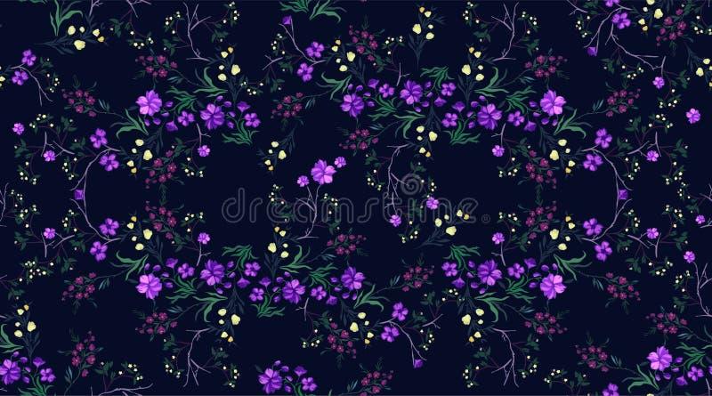 Teste padrão sem emenda botânico com cereja e flores, motivos do vetor para a cópia da tela e bordado ilustração stock