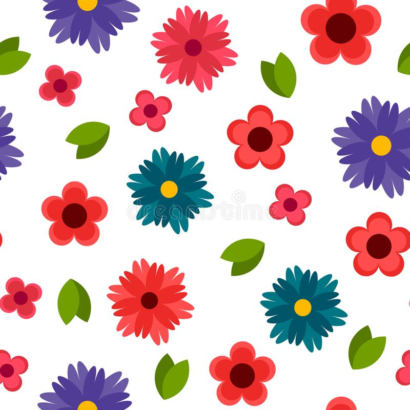 Teste padrão sem emenda botânico decorativo colorido com flores imagens de stock