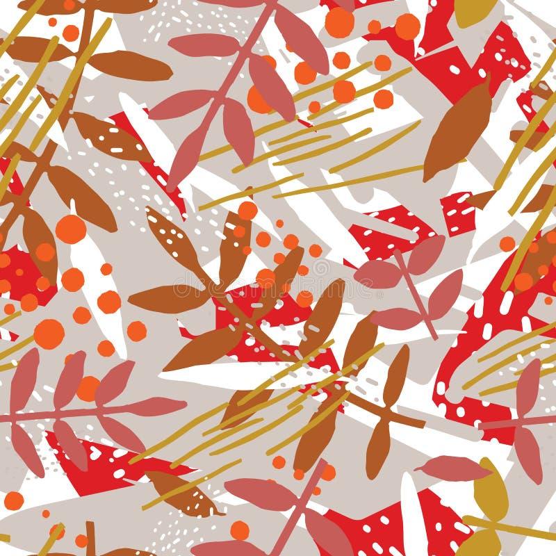 Teste padrão sem emenda botânico do sumário com folha ou folhas e manchas ou manchas abstratas caóticas Vetor moderno ilustração stock