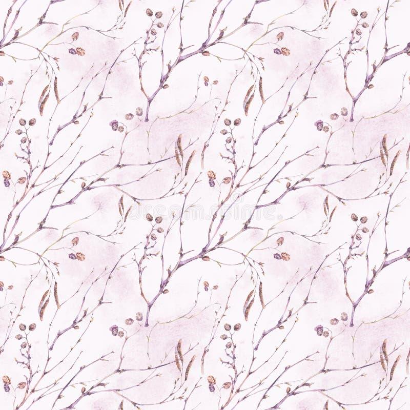 Teste padrão sem emenda botânico do vintage da mola da aquarela ilustração do vetor