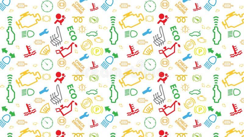 Teste padrão sem emenda branco do vetor Textura dos ícones do painel do carro Repetindo sinais de código do dtc Colorido, irregul ilustração do vetor