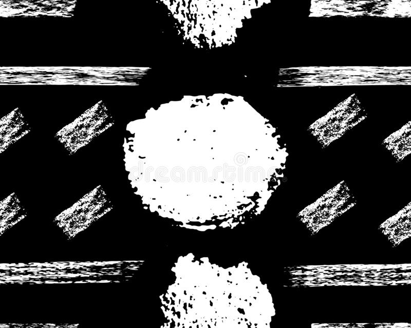 Teste padrão sem emenda Branco no fundo preto, pontos da tinta, listras Textura tirada mão da escova do vetor ilustração stock