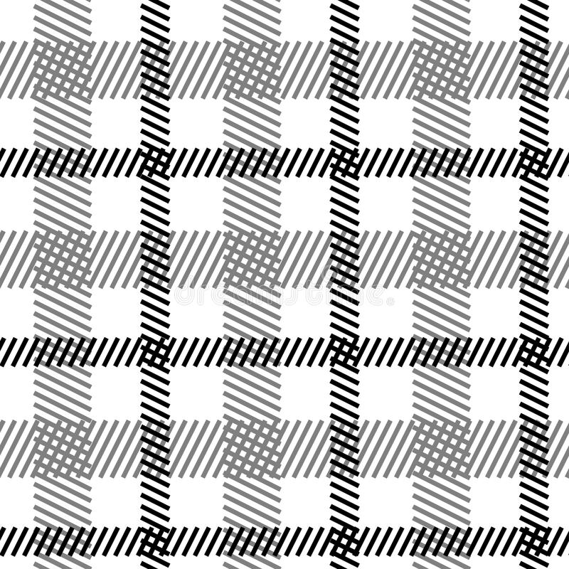 Teste padrão sem emenda branco preto da tartã ilustração royalty free