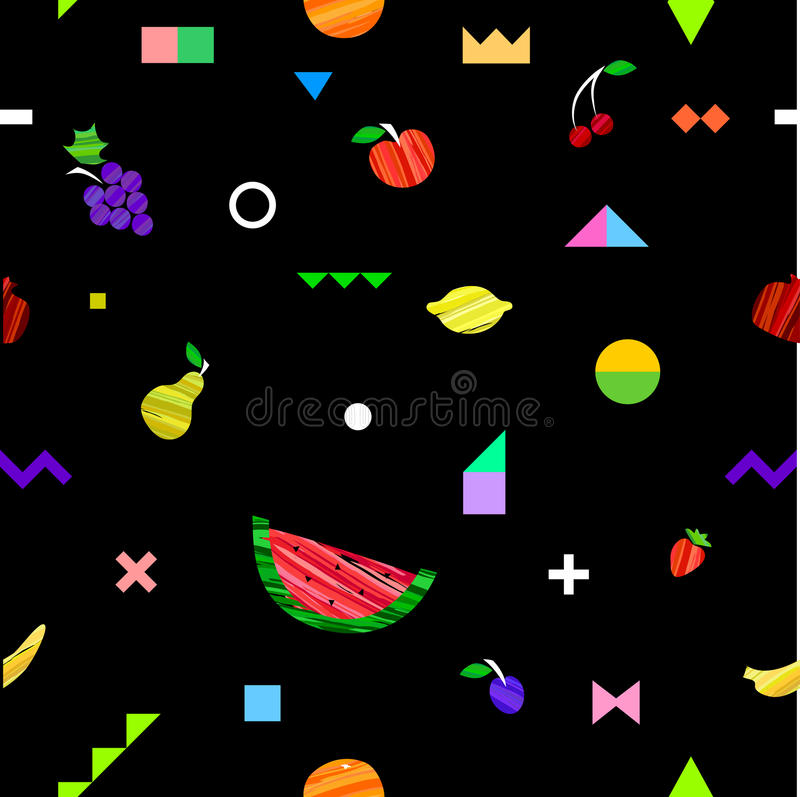 Teste padrão sem emenda brilhante colorido com frutos diferentes e elementos geométricos no estilo tribal de Memphis ilustração do vetor