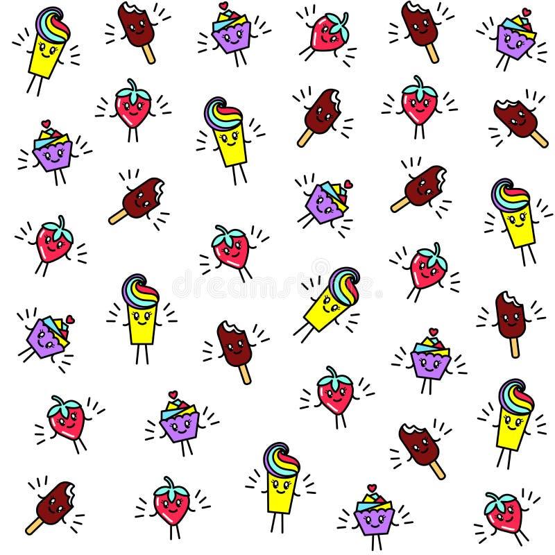 Teste padrão sem emenda brilhante com caráteres engraçados queque, gelado, morangos e sobremesa ao estilo do kawaii ilustração stock