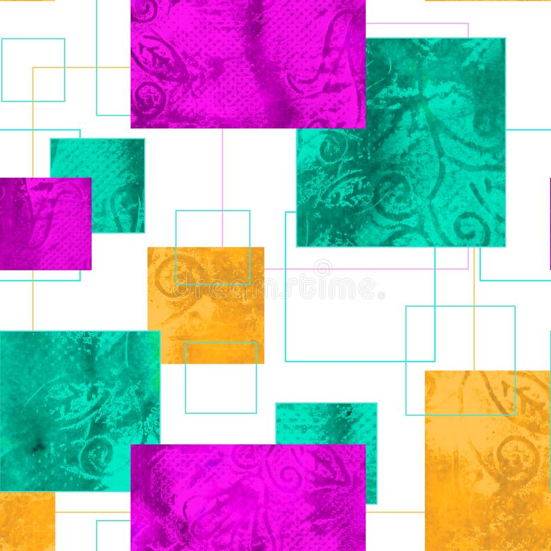 Teste padrão sem emenda brilhante com ornamento geométrico ilustração stock